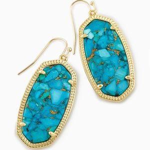 Kendra Scott Elle Gold Drop Earrings In Turquoise